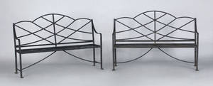 Pair of English George III painted wrought iron garden benches ca 1800