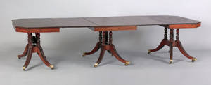 New York Federal carved mahogany three part dining table attributed to the workshop of Duncan Phyfe ca 1805