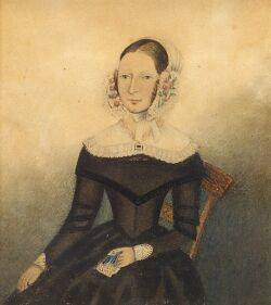 American School 19th Century Miniature Portrait of a Young Woman