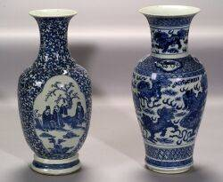Two Blue and White Chinese Export Porcelain Vases