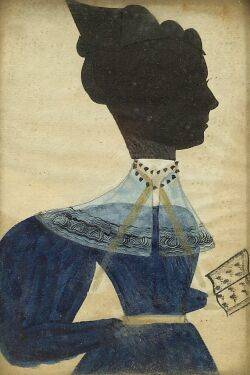 Attributed to the Artist Known as the Puffy Sleeve Artist active c 1830 Miniature Silhouette Portrait of a Woman Wearing a Blue Dress