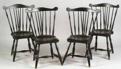 Set of Four Painted Windsor Fanback Side Chairs