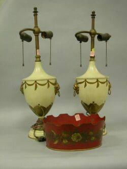 Pair of Tole Urn Table Lamps and a Planter