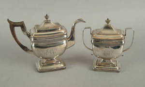 Philadelphia silver teapot and covered sugar ca 1820