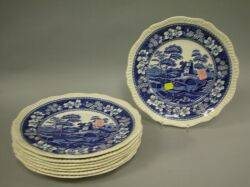 Set of Eight Copeland Spode Blue and White Spodes Tower Pattern Dinner Plates