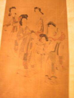 Chinese Scroll Painting on Silk Depicting Six Women Enroute to a Party