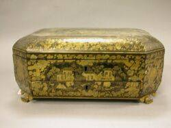 Chinese Export Gilt Decorated Black Lacquer Sewing Box