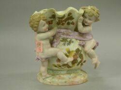 Rudolstadt Floral Decorated Porcelain Figural Vase with Cherubs