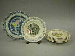 Turner Blue and White Reticulated Ceramic Plate and a Set of Seven French Transfer Decorated Ceramic Plates