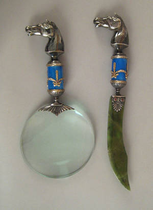 Russian silver and guilloche enamel letter opener and magnifying glass 20th c