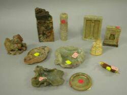 Eleven Asian Carved Soapstone Items and a Carved Ivory Buddha