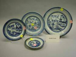Thirtytwo Canton Blue and White Porcelain Plates and Bowls