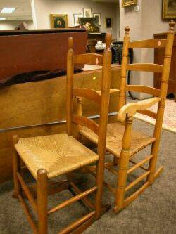 Two Ladderback Rockers and Two Ladderback Side Chairs