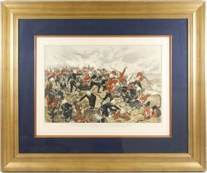 1881 Hand Colored Engraving Battle of Majuba Hill
