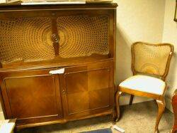 Provincialstyle Caned Walnut Dropfront Desk and Chair