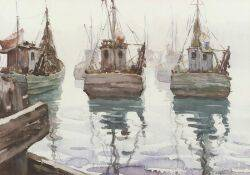 Taddeus Kladnicki PolishAmerican 19041982 Lot of Two Watercolors Including Fishing Boats