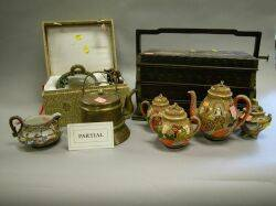 Large Group of Asian Decorative Ceramic Tea Wares Carved Wood and Stone Figures and Items Wood Picnic Box a Plique Jour Incense and