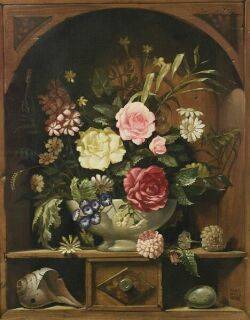 William Ward Beecher American 20th Century Floral Still Life in an Architectural Niche