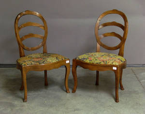 Pair of French mahogany dining chairs