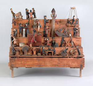 Large carved wood folk art automaton late 19th c