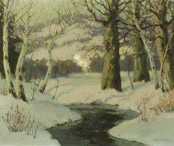 Walter Koeniger GermanAmerican 18811943 Stream in Winter Possibly a Woodstock New York View