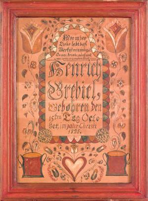 Southeastern Pennsylvania ink and watercolor fraktur birth certificate dated 1825 for Henrich Krebiel