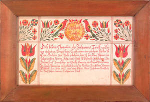 Berks County Pennsylvania watercolor fraktur birth certificate dated 1822 for Elisabeth Triess b 1817