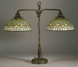 Tiffany Studios Acorn Bronze Double Student Lamp