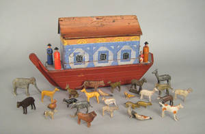 Carved and painted Noahs Ark late 19th c