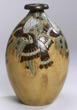 Boch Freres Ceramic Bird Vase