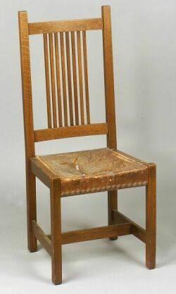 Arts  Crafts Oak Spindleback Side Chair