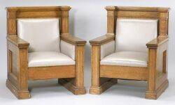 Pair of Arts and Crafts Oak and Leather Armchairs
