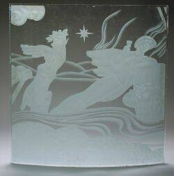 Art Deco Etched Glass Panel