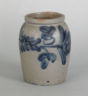Small Pennsylvania stoneware crock 19th c