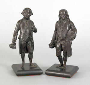 Pair of patinated bronze figures of George Washington and Benjamin Franklin late 19th c