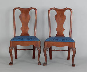 Pair of George II mahogany dining chairs ca 1760