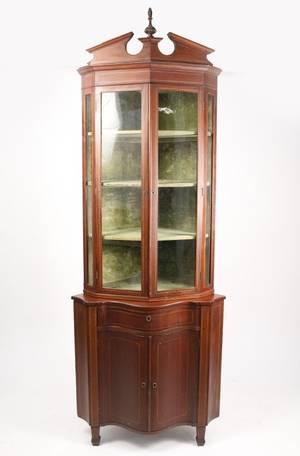 American 19th C Mahogany Inlaid Corner Cabinet