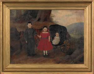 Berks County Pennsylvania oil on canvas family portrait mid 19th c