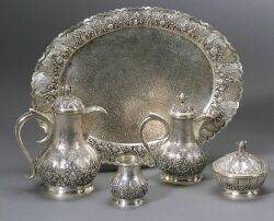 Middle Eastern Five Piece 800 Silver Demitasse Coffee Service