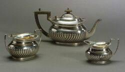 English Sterling Silver ThreePiece Tea Set