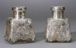 Pair of Late Victorian Silver Mounted Colorless Glass Cologne Bottles