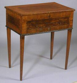 French Neoclassical Burl Walnut Inlaid Fruitwood Dressing Table
