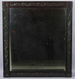 Large Ebonized Aesthetic Movement Overmantel Mirror