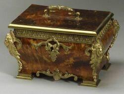 French Louis XVXVIstyle Faux Tortoise Shell Ormolu Mounted Jewel Box