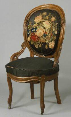 Victorian Walnut and Stumpwork Upholstered Side Chair