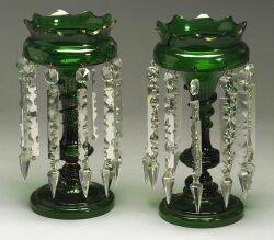 Pair of Continental Green Glass Mantle Lustres