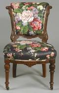 Renaissance Revival Floral Chintz Upholstered Walnut Side Chair