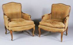 Pair of Louis XV style Beechwood Bergeres