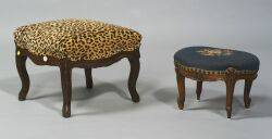 Two Louis XV Style Walnut Footstools