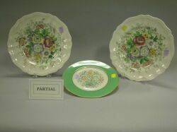 Set of Eight Royal Doulton Malvern Ceramic Dinner Plates and a Set of Six Lenox Floral Decorated Porcelain Dessert Plates
